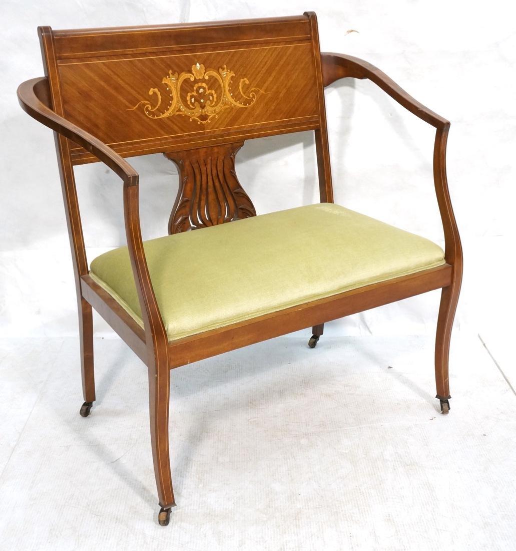 Inlaid Love Seat Bench. Decorative harp detail to