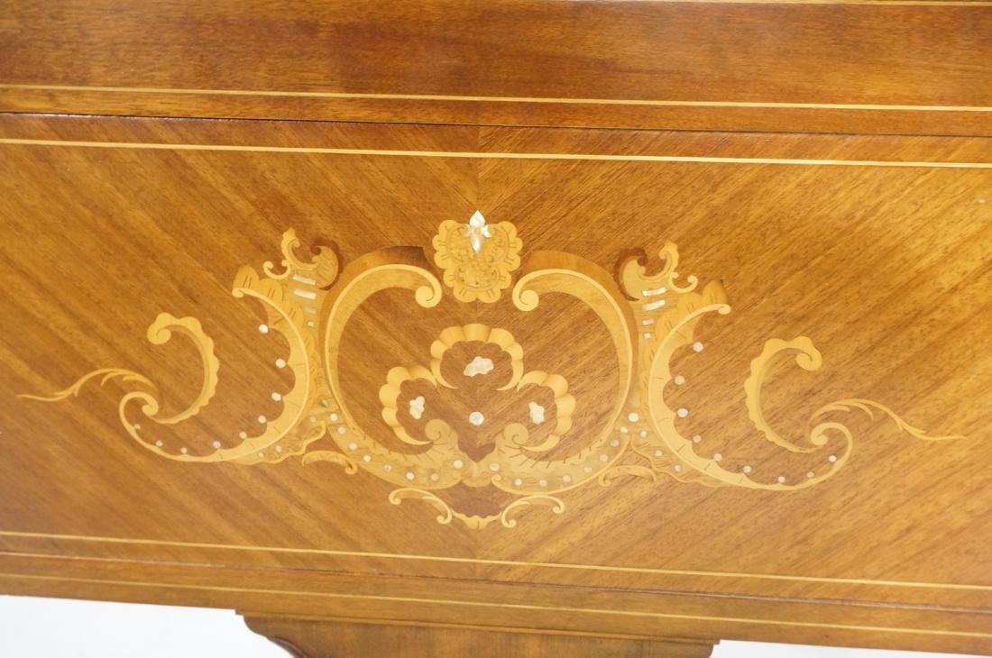 Inlaid Love Seat Bench. Decorative harp detail to - 4