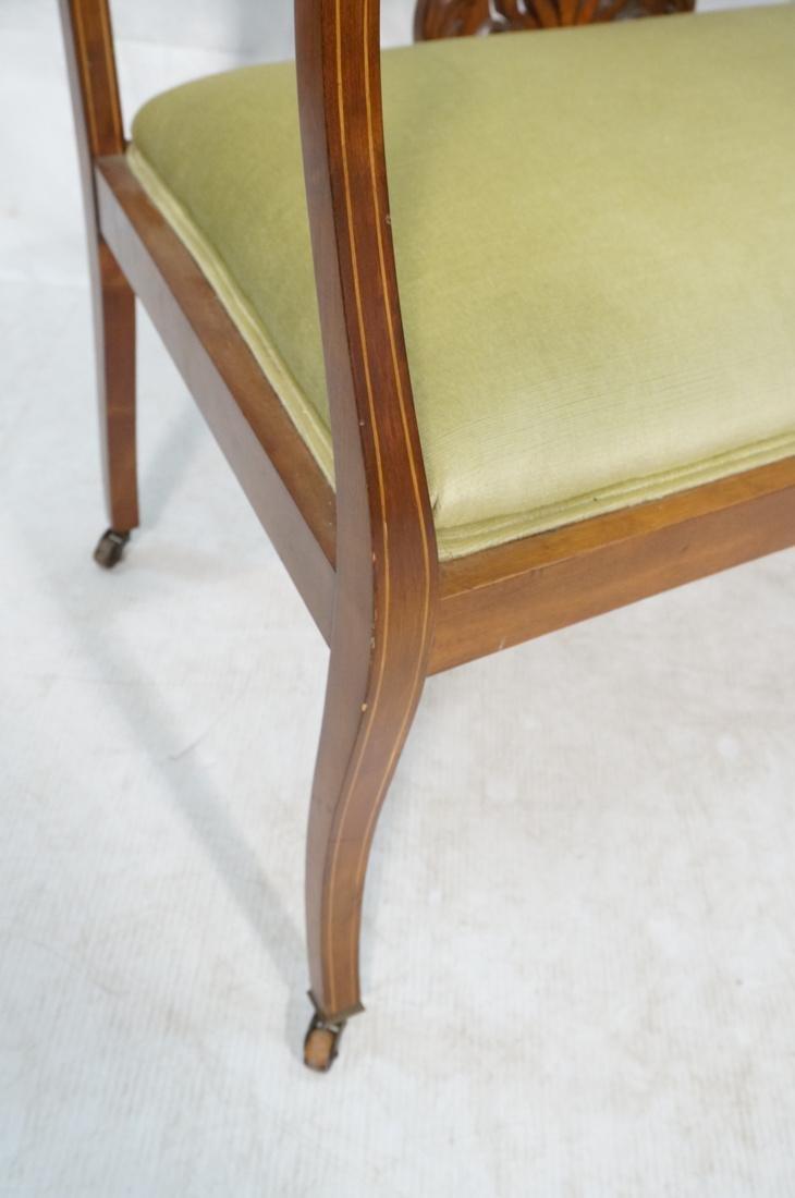 Inlaid Love Seat Bench. Decorative harp detail to - 5