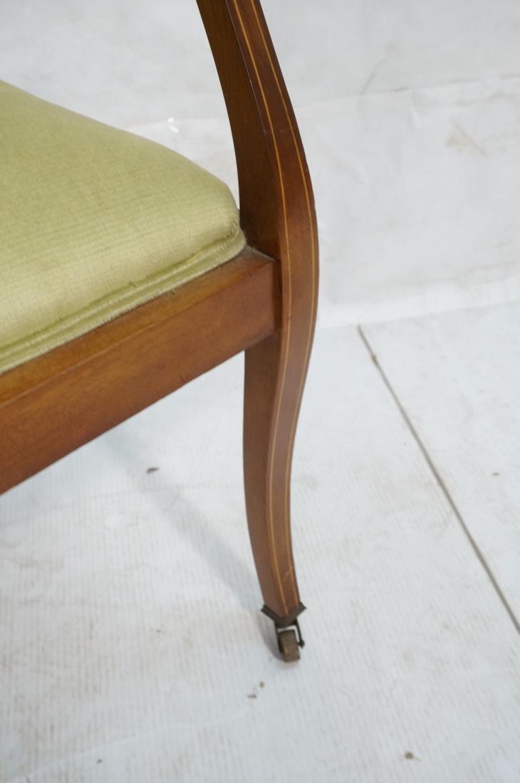 Inlaid Love Seat Bench. Decorative harp detail to - 7