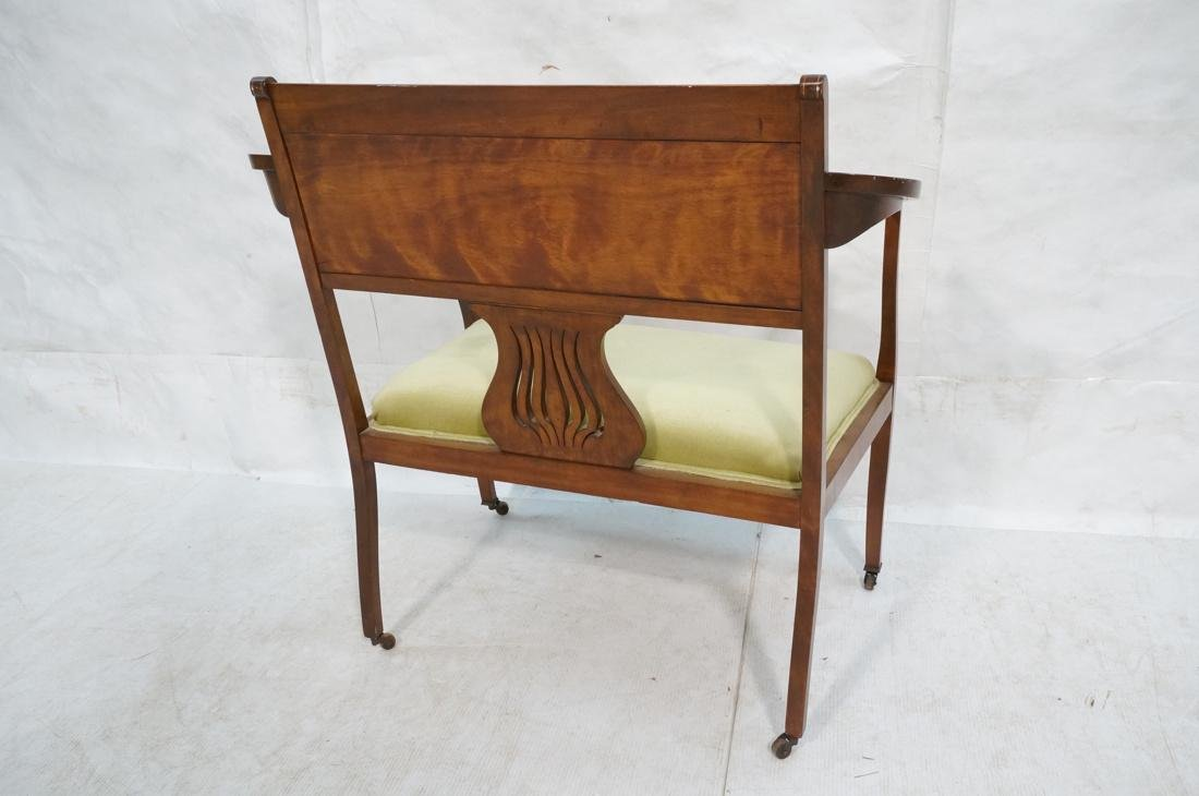 Inlaid Love Seat Bench. Decorative harp detail to - 8
