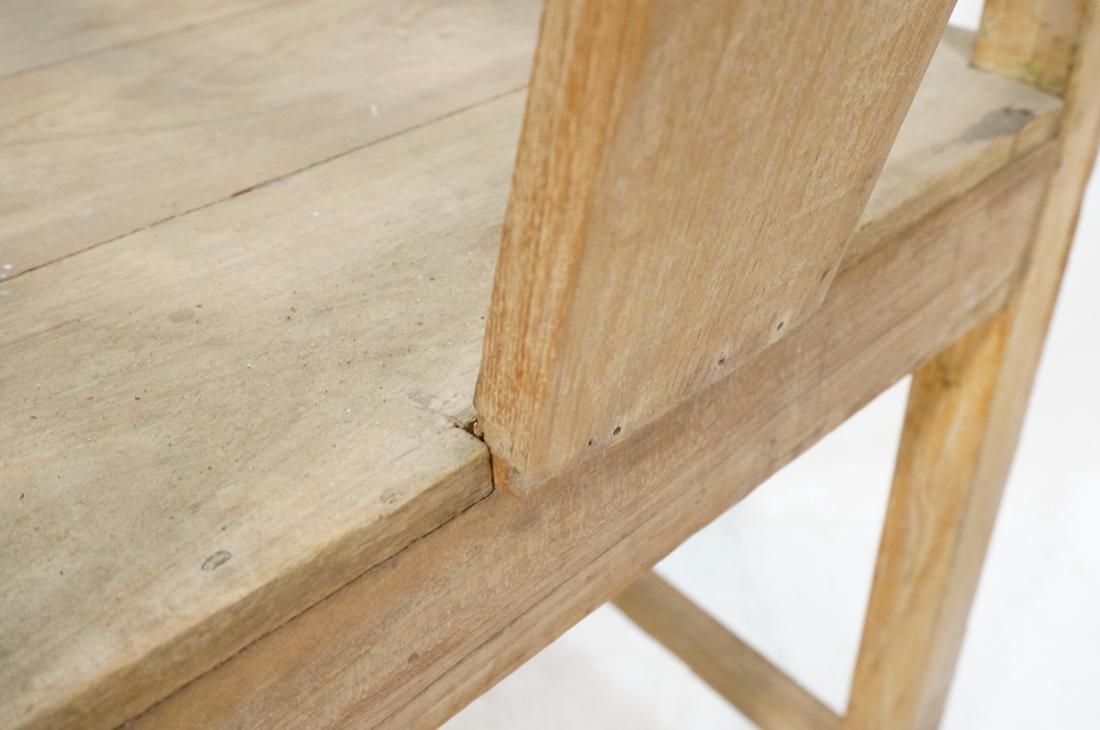 Set 2 Asian Natural Wood Arm Chairs. Slat seat. C - 10