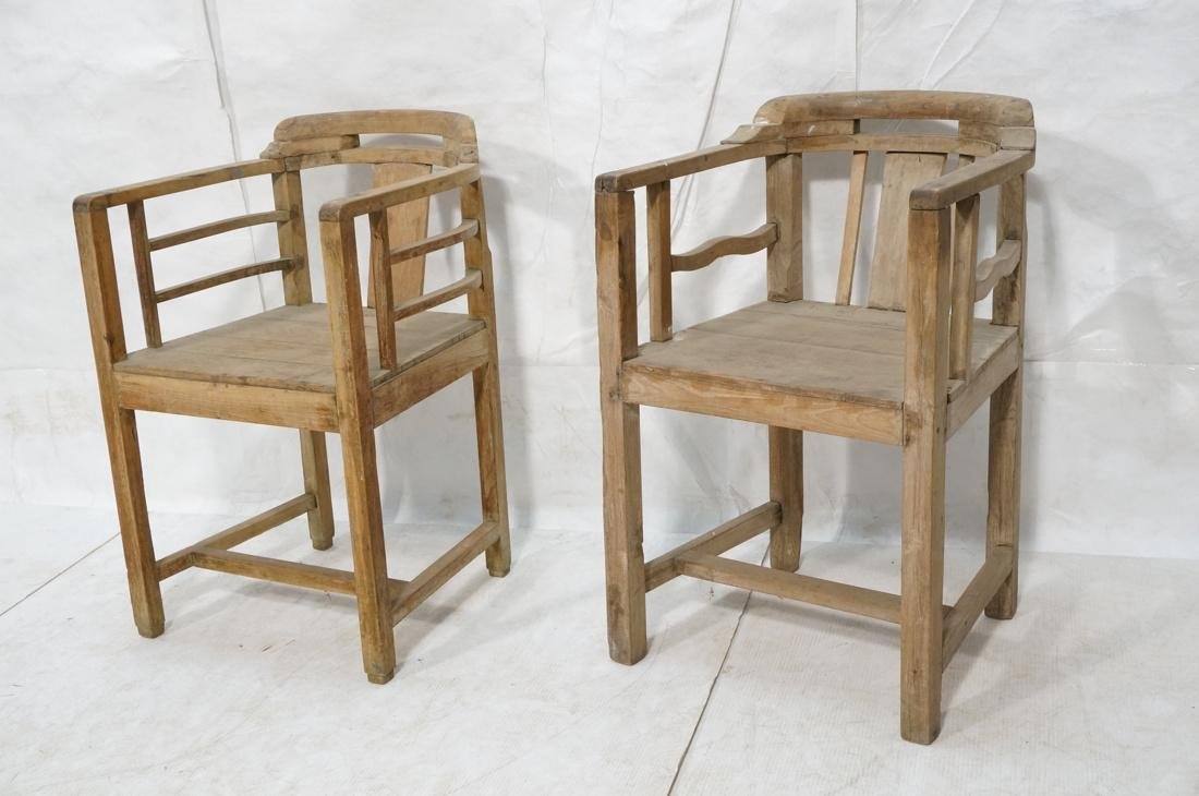 Set 2 Asian Natural Wood Arm Chairs. Slat seat. C