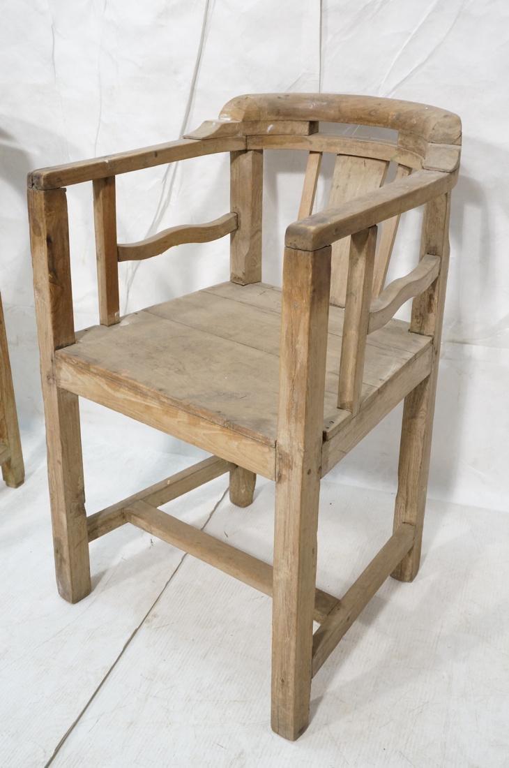 Set 2 Asian Natural Wood Arm Chairs. Slat seat. C - 2