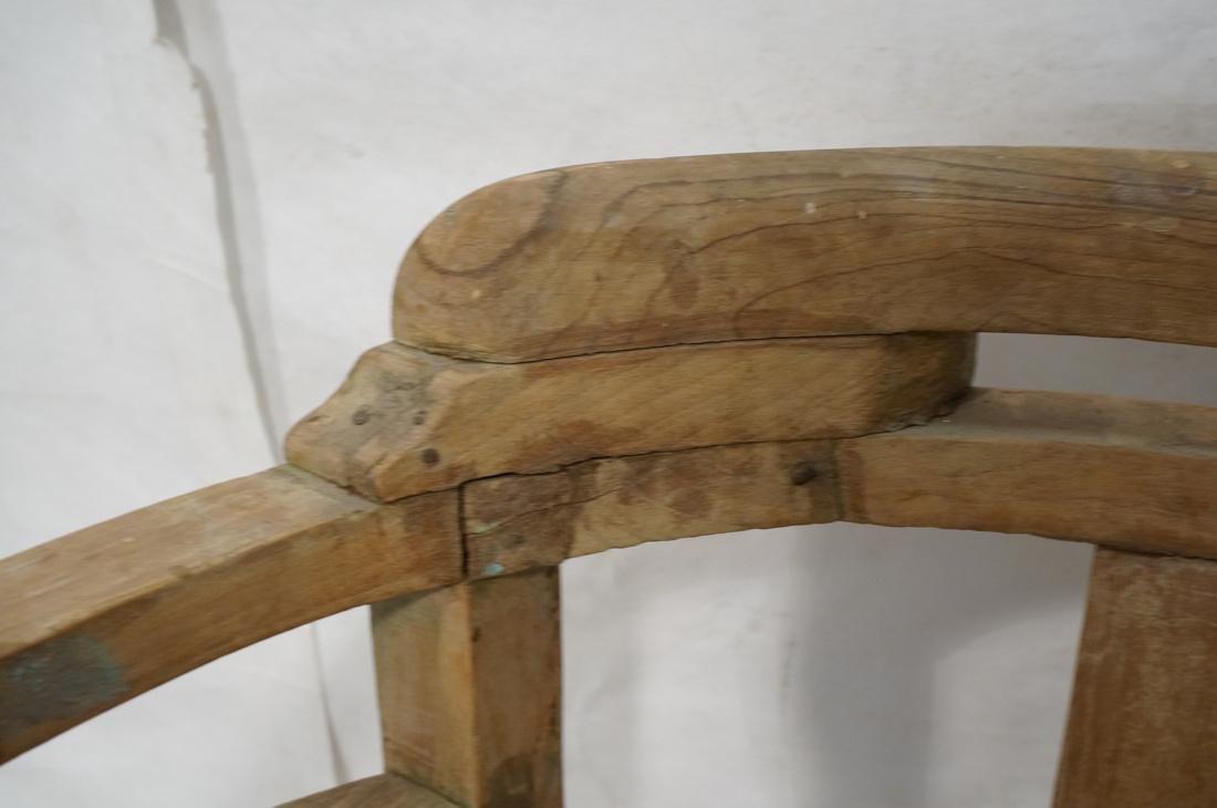 Set 2 Asian Natural Wood Arm Chairs. Slat seat. C - 3