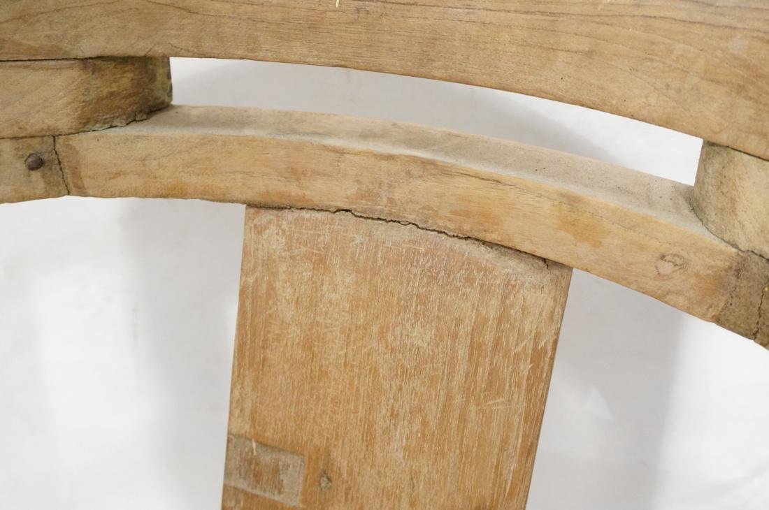 Set 2 Asian Natural Wood Arm Chairs. Slat seat. C - 4