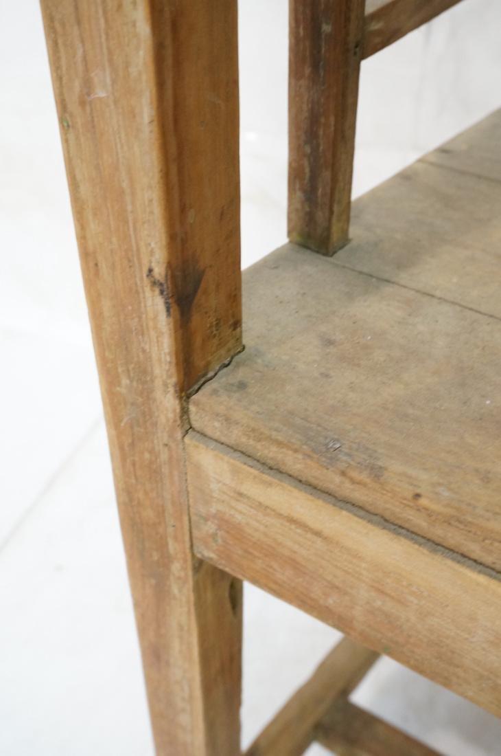 Set 2 Asian Natural Wood Arm Chairs. Slat seat. C - 5