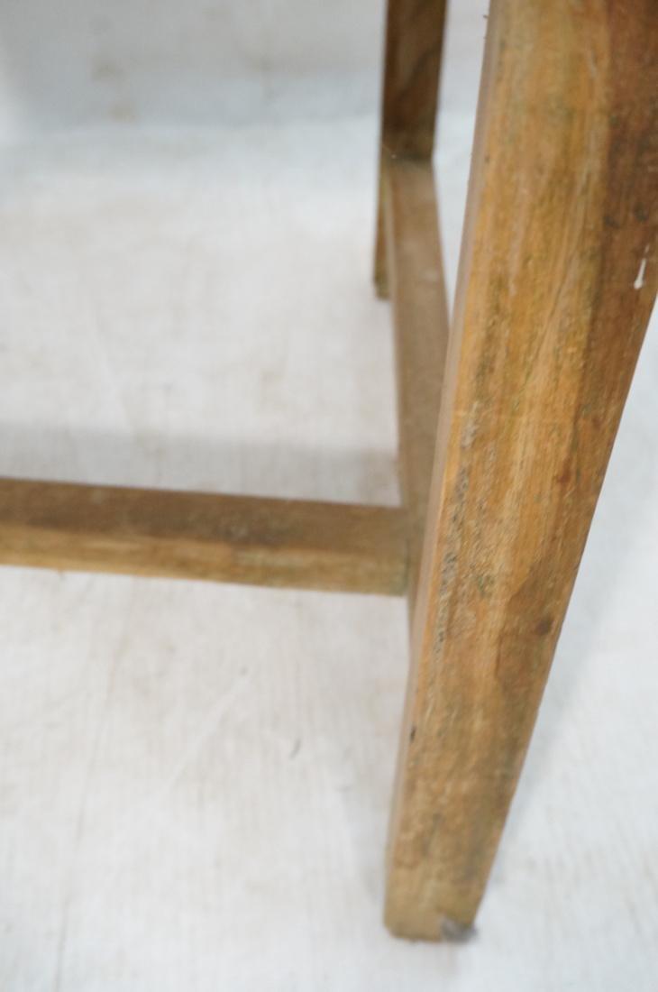 Set 2 Asian Natural Wood Arm Chairs. Slat seat. C - 6