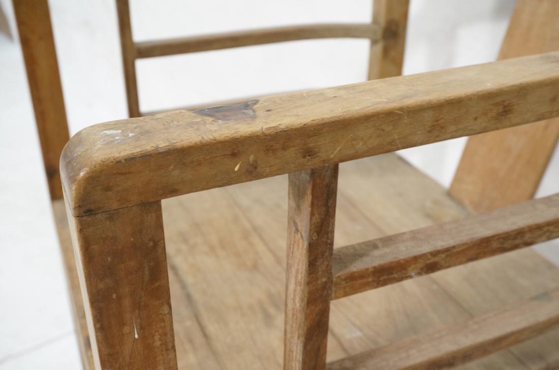Set 2 Asian Natural Wood Arm Chairs. Slat seat. C - 7