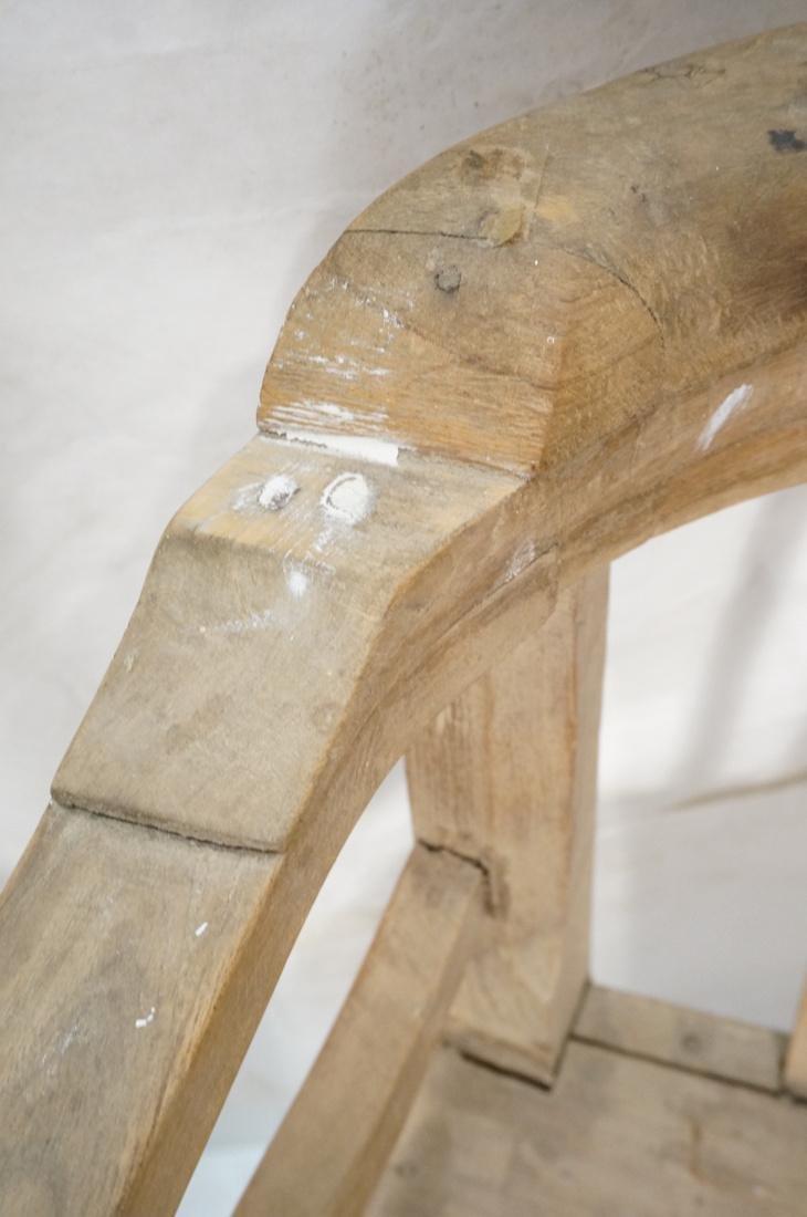 Set 2 Asian Natural Wood Arm Chairs. Slat seat. C - 9