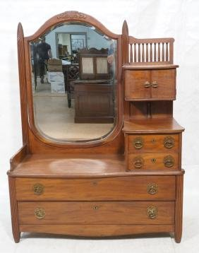 Antique Dresser with large beveled side mirror. L