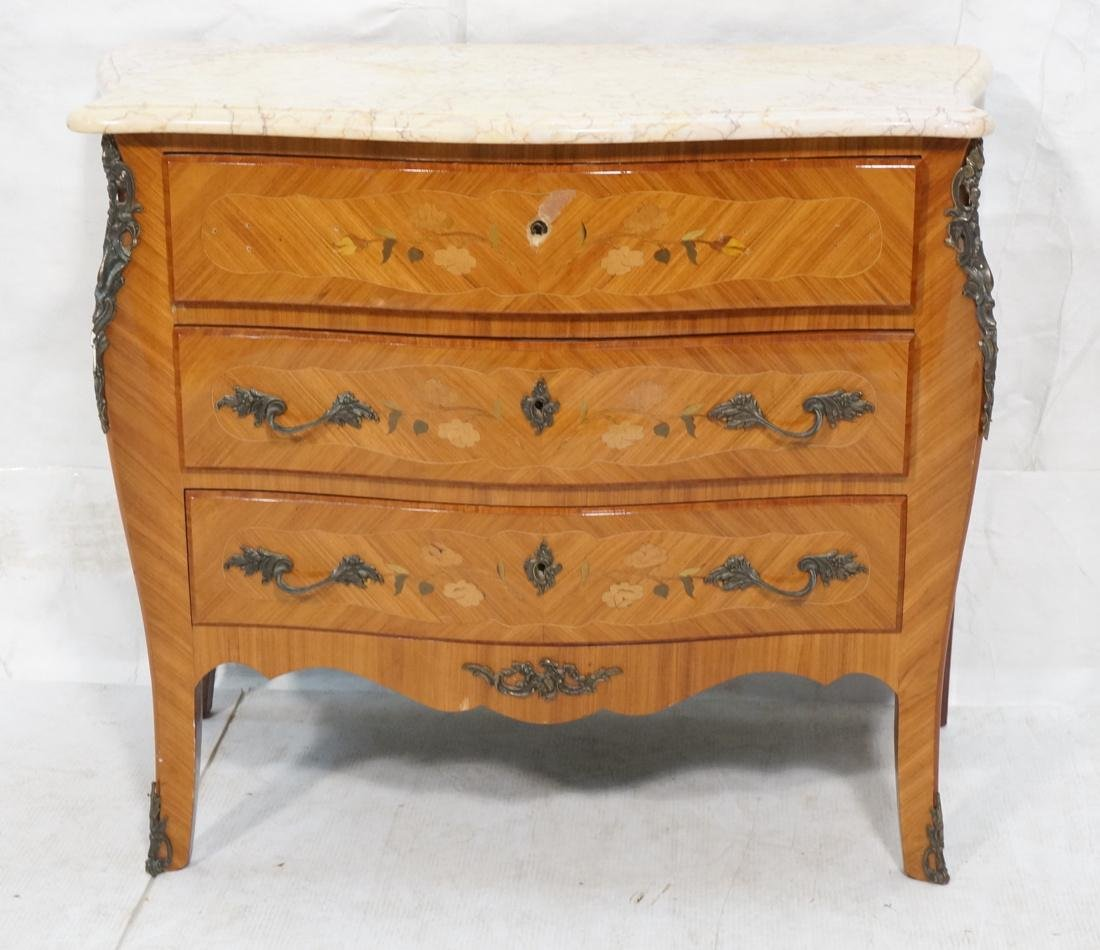 French style Marble Top Commode Chest. Inlaid woo