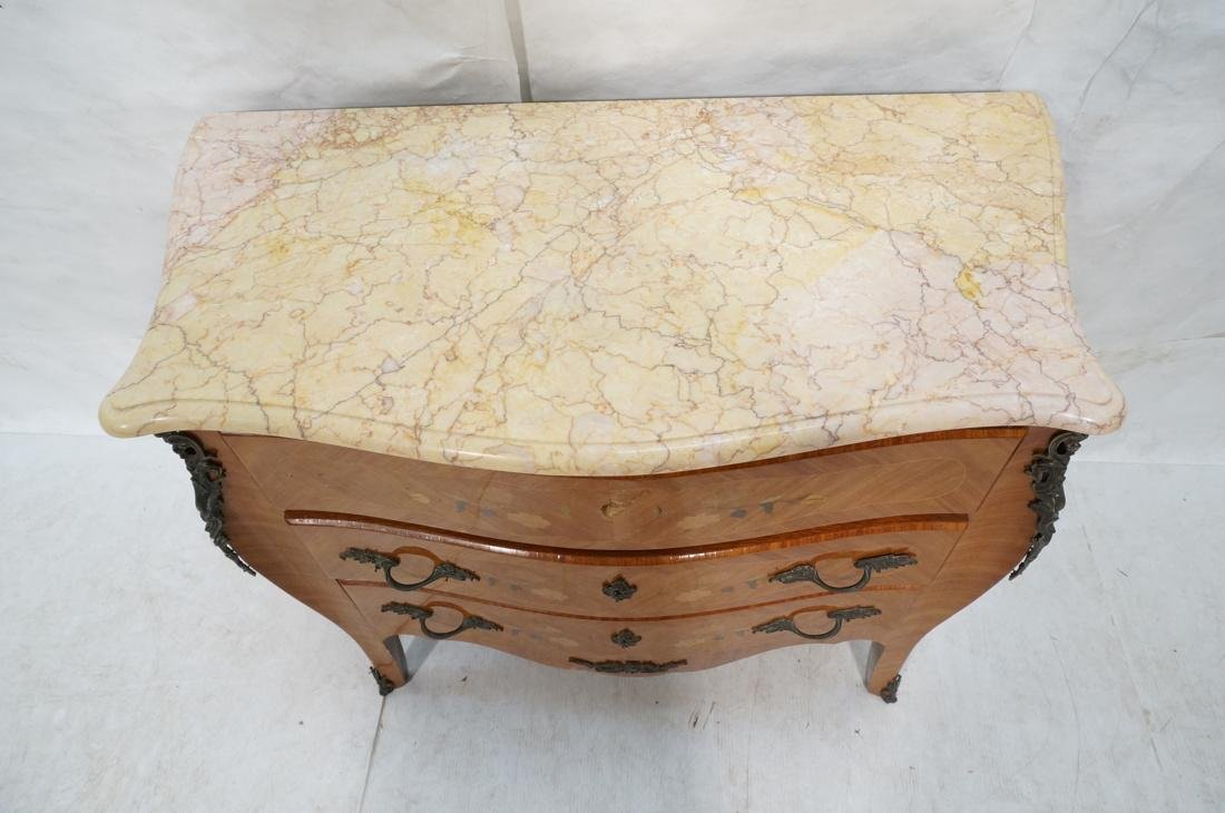 French style Marble Top Commode Chest. Inlaid woo - 2