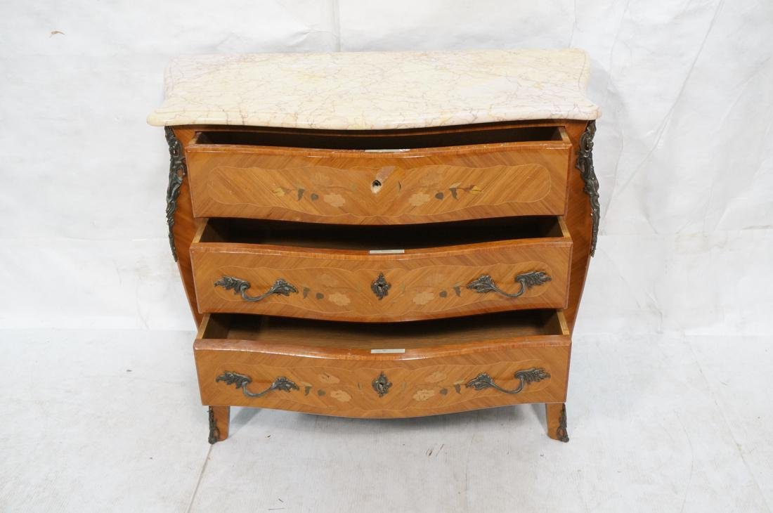 French style Marble Top Commode Chest. Inlaid woo - 3
