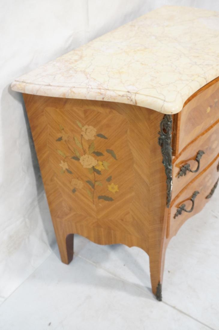 French style Marble Top Commode Chest. Inlaid woo - 6