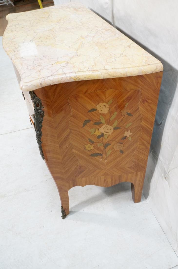 French style Marble Top Commode Chest. Inlaid woo - 7