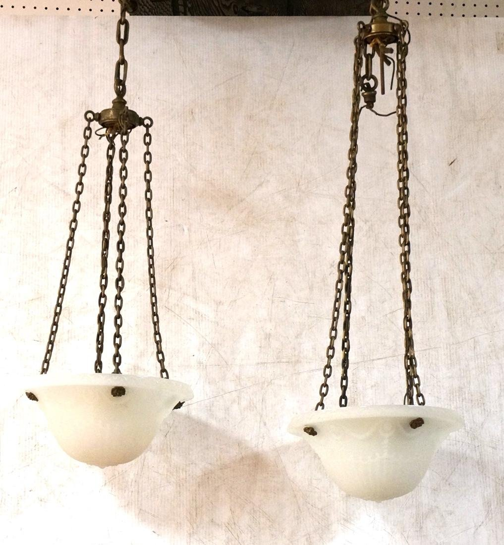 Two Molded Glass Dome Antique Hanging Lights Chan