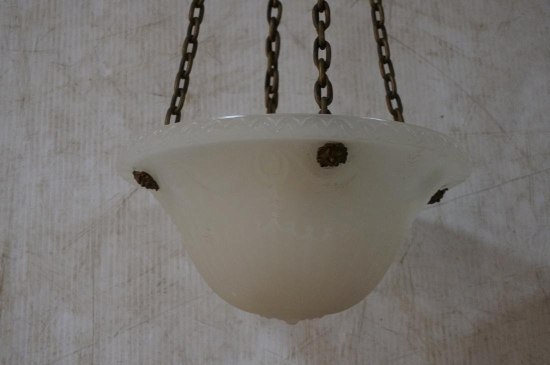 Two Molded Glass Dome Antique Hanging Lights Chan - 2