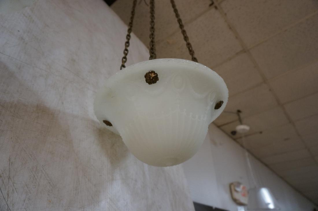 Two Molded Glass Dome Antique Hanging Lights Chan - 8
