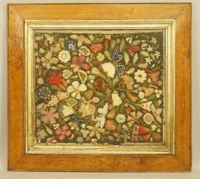 Elaborate Needlework on Felt.  Floral framed unde