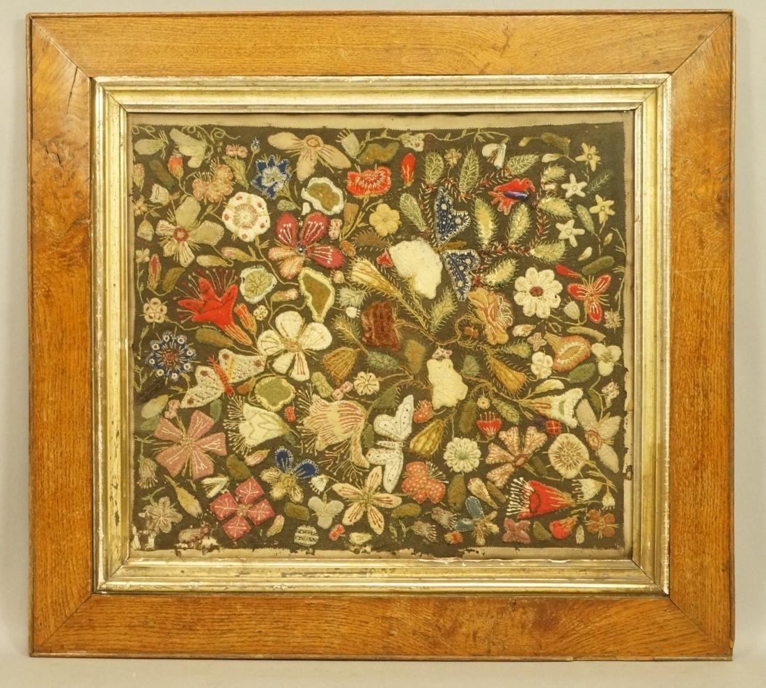 Elaborate Needlework on Felt.  Floral framed unde