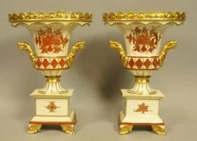 Pair French Porcelain Bolted urn Vases.  Gold Gil