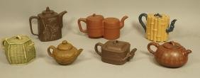 Lot 7 Small Ceramic Chinese Yixing Teapots. Many