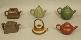 Lot 6 Small Ceramic Chinese Yixing Teapots. Many