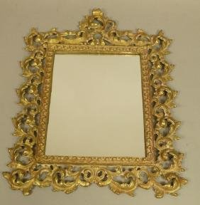 Vintage Brass Ornate Framed Mirror. Wall Hanging.