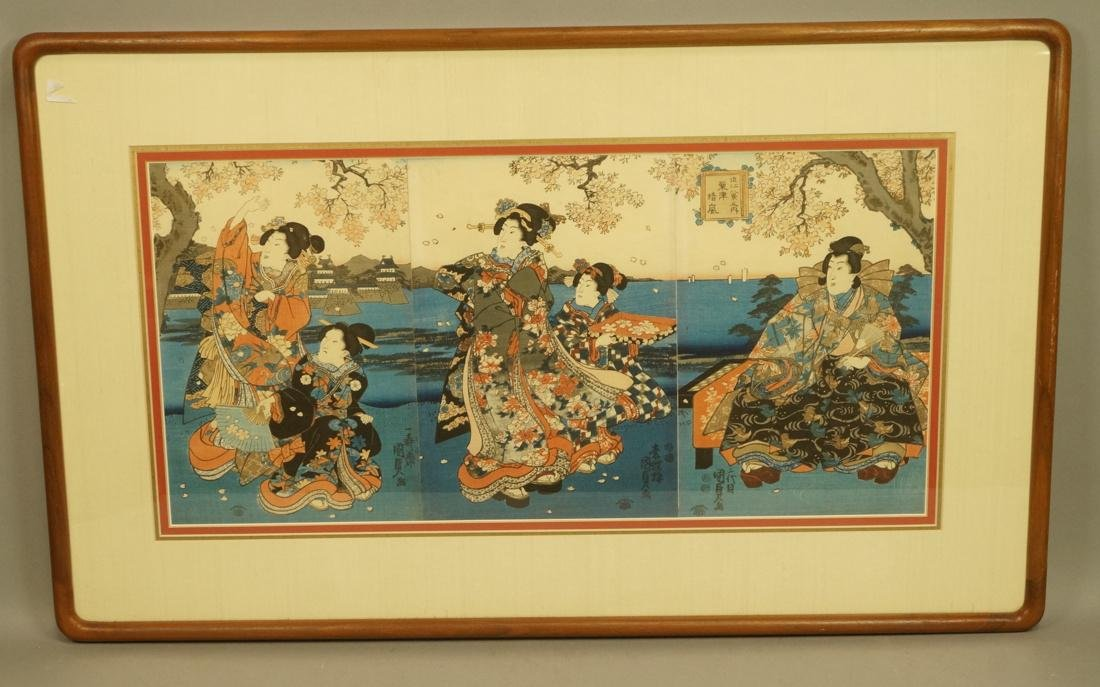 Set 3 Signed Chinese Watercolors. Young women in