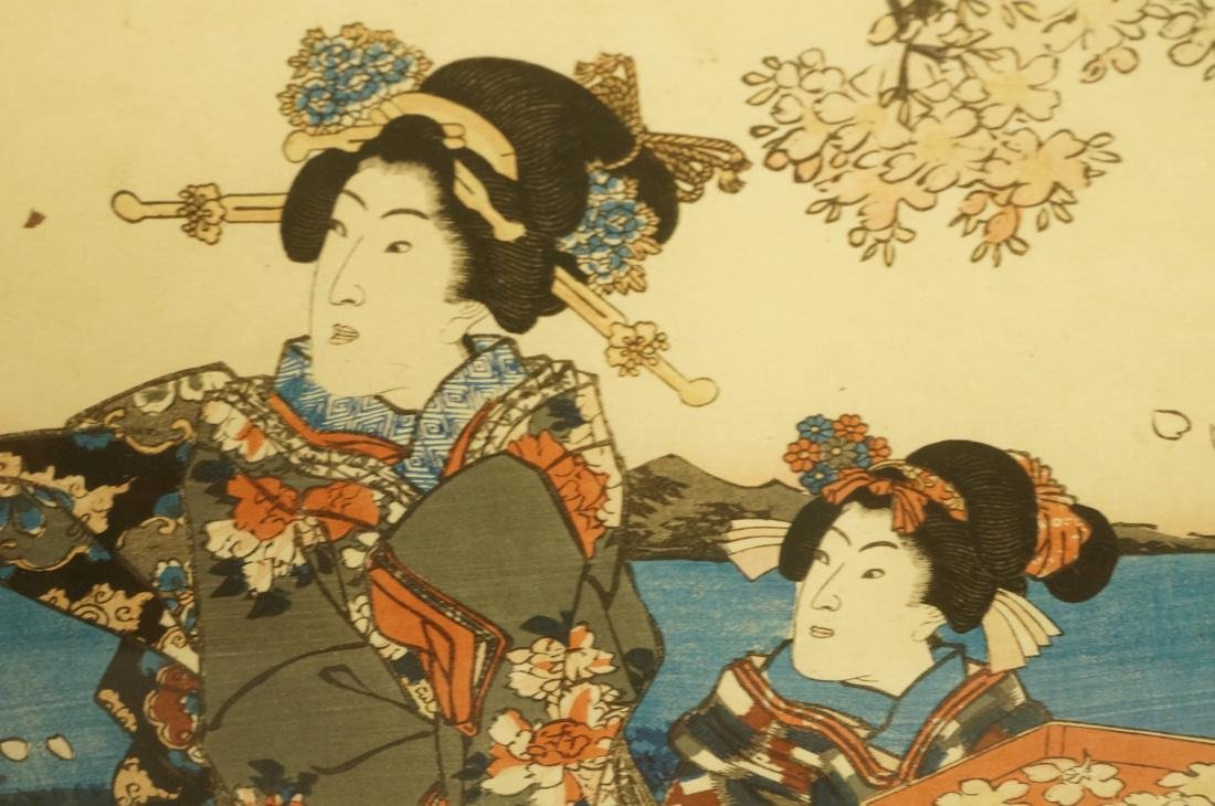 Set 3 Signed Chinese Watercolors. Young women in - 9