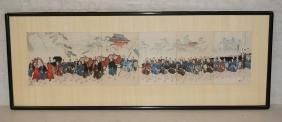 6 Part Colored Japanese Wood Block Prints. Proces