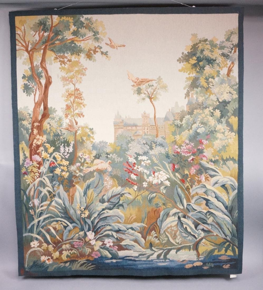 Hand Woven Aubusson Tapestry. Lush colorful lands