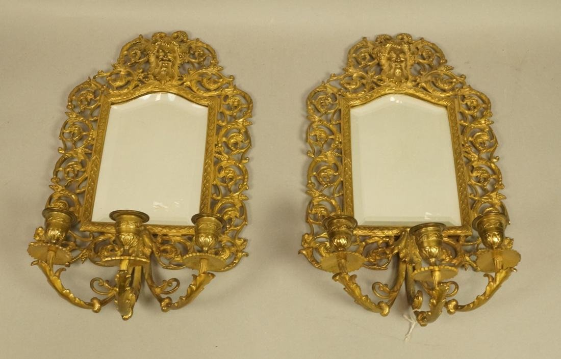 Pr Beveled Mirror Wall Sconces with 3 arm candle