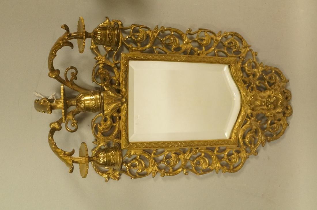 Pr Beveled Mirror Wall Sconces with 3 arm candle - 3