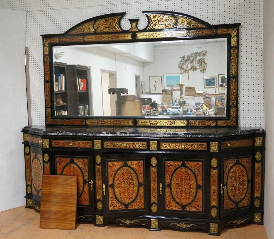 Large Boulle Style Credenza With Mirror.  Late 20