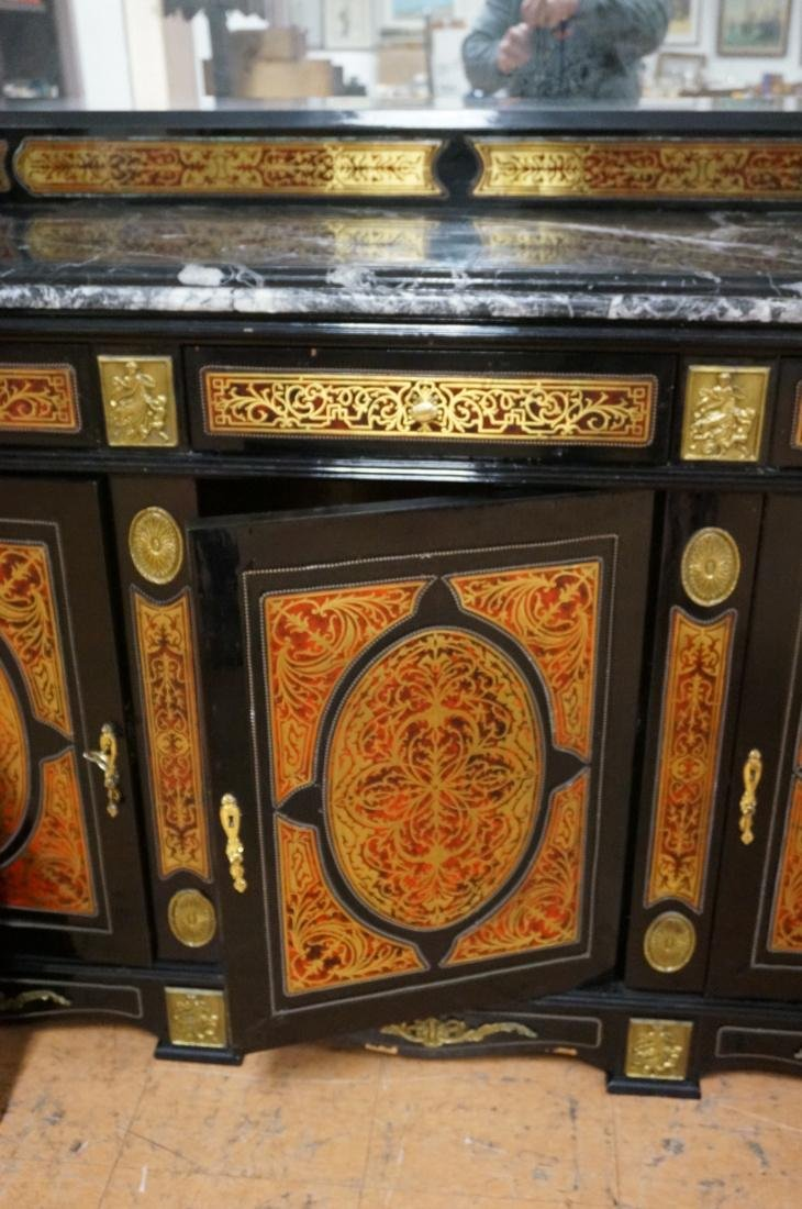 Large Boulle Style Credenza With Mirror.  Late 20 - 4