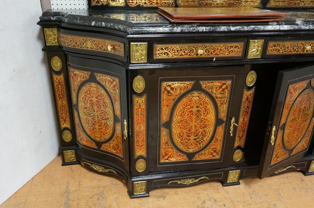 Large Boulle Style Credenza With Mirror.  Late 20 - 5