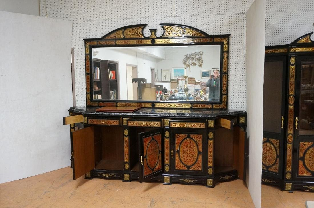 Large Boulle Style Credenza With Mirror.  Late 20 - 7