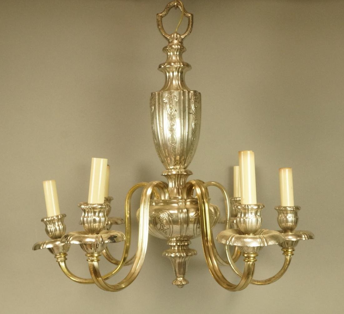 Decorative Silver Plate Chandelier.  6 arms.