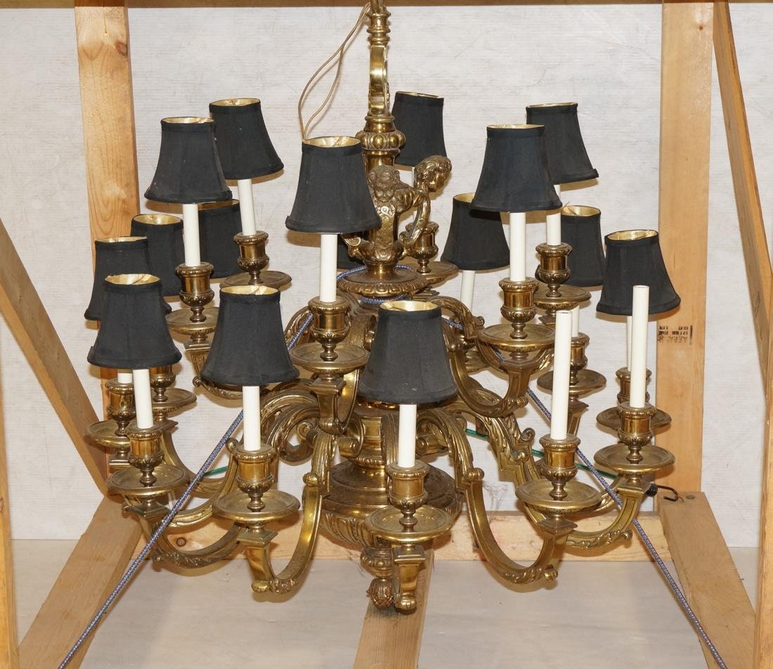 Very Large Brass Chandelier with Cherubs. 18 arms