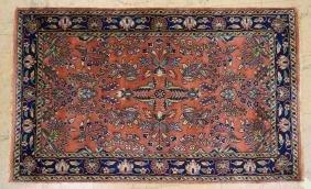 4'11 x 3 SAROUK Oriental Carpet Rug.  Floral desi