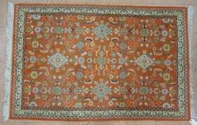 6 x 3'11 Handmade Oriental Carpet with Orange Fie