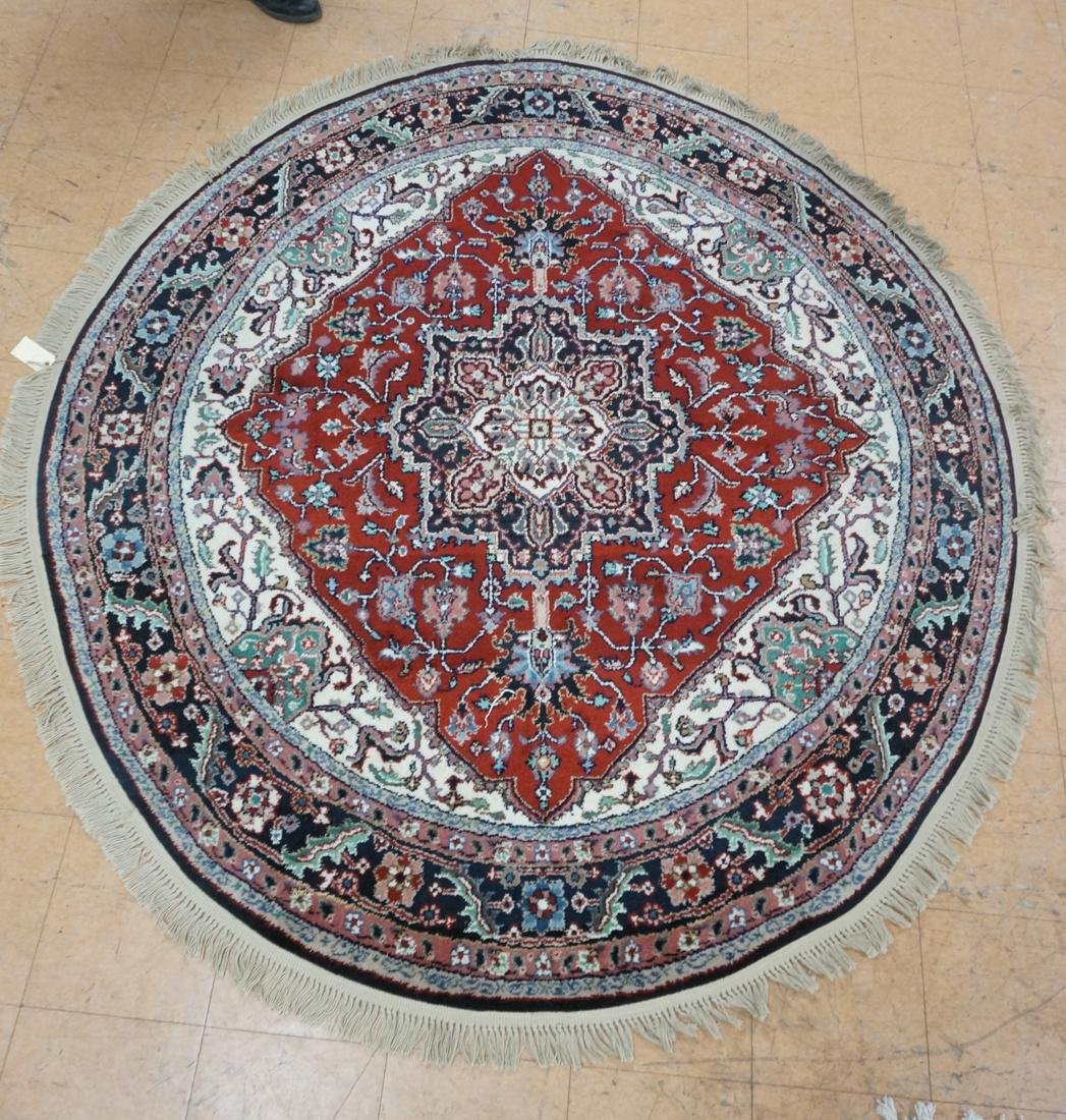 7'6 x 7 Oval Handmade Carpet rug with center meda