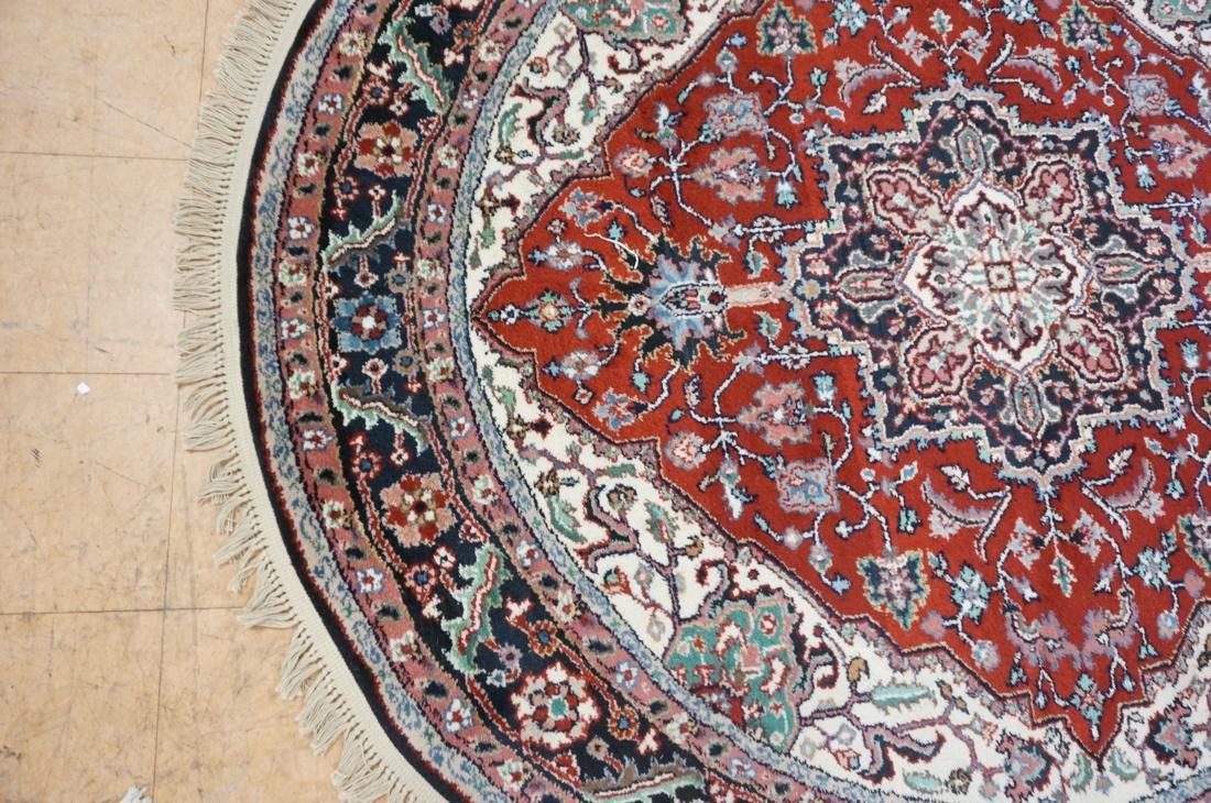 7'6 x 7 Oval Handmade Carpet rug with center meda - 3