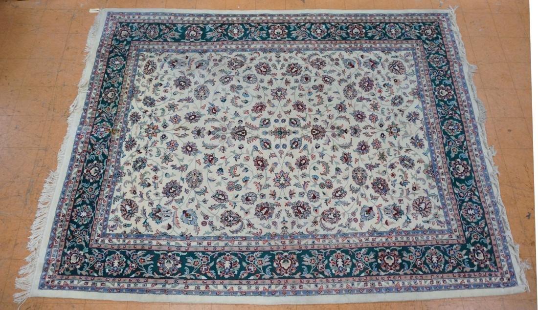 12 x 8'11 Handmade Oriental Carpet. Floral Ivory