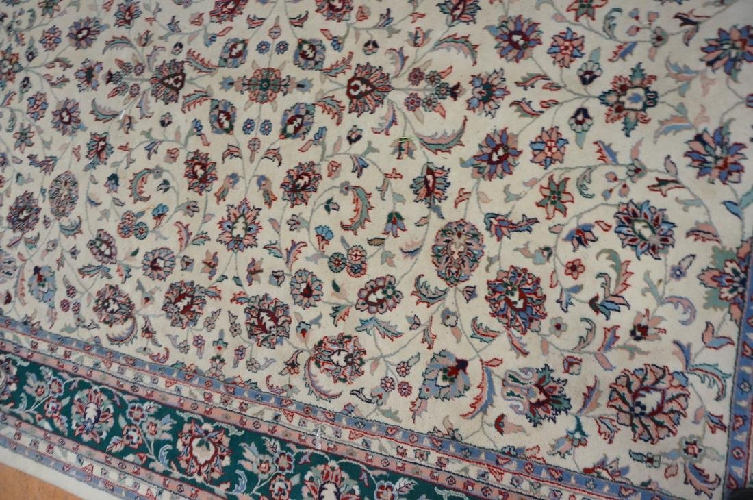 12 x 8'11 Handmade Oriental Carpet. Floral Ivory - 3