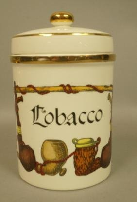 FORNASETTI Style Ceramic Tobacco Jar. Marked GALB