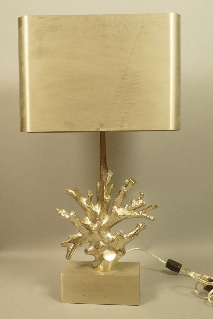 Maison Charles Silvered Bronze Coral Form Table Lamp.