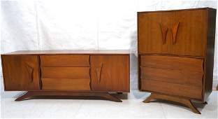 2 pc AMERICAN MODERN Walnut Bedroom Furniture. Lo